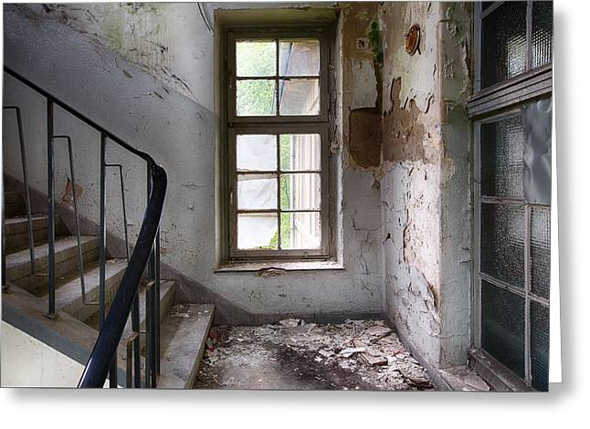 Light On The Stairs - Abandoned Building Greeting Card by Dirk Ercken