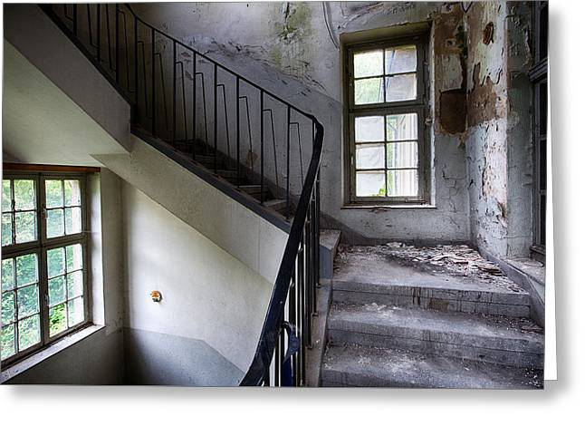 Light On The Stairs - Abandoned Buildings Greeting Card by Dirk Ercken