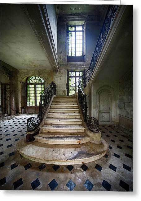 Greeting Card featuring the photograph Light On The Stairs - Abandoned Castle by Dirk Ercken