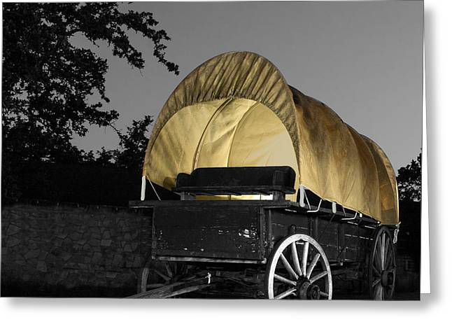 Light Painted Wagon Greeting Card by Walter E Koopmann