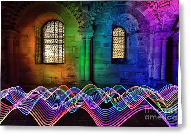 Light Painting In The Castle Greeting Card by Ray Pritchard