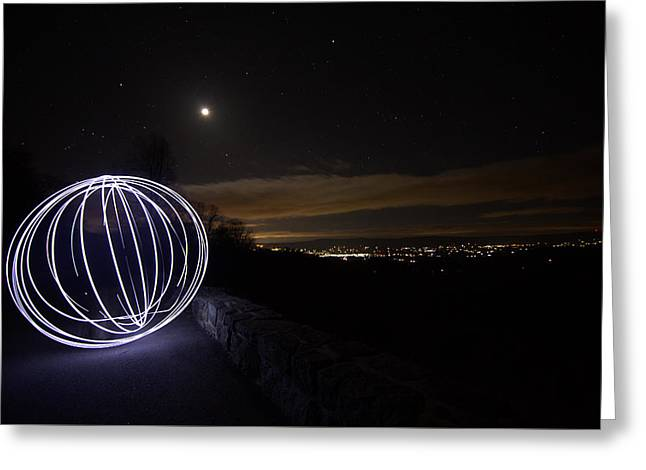 Light Painting On Skyline Drive Greeting Card