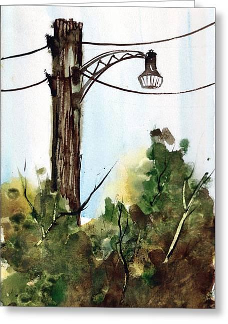 Light Pole Greeting Card by Sam Sidders