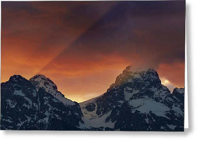 Light Rays Through The Tetons Greeting Card by Mike Berenson
