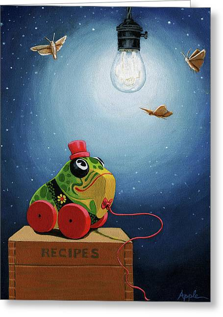 Light Snacks Original Whimsical Still Life Greeting Card by Linda Apple