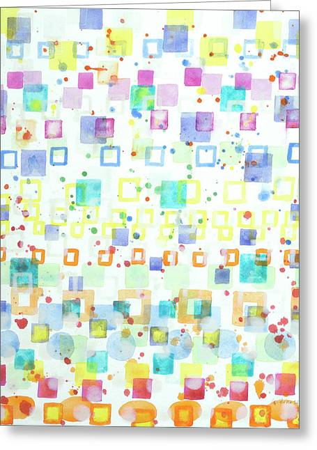 Light Squares With Drops Pattern  Greeting Card by Heidi Capitaine
