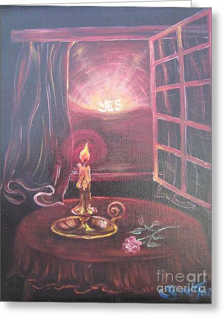 Flying Lamb Productions      Light The Yes Candle Greeting Card