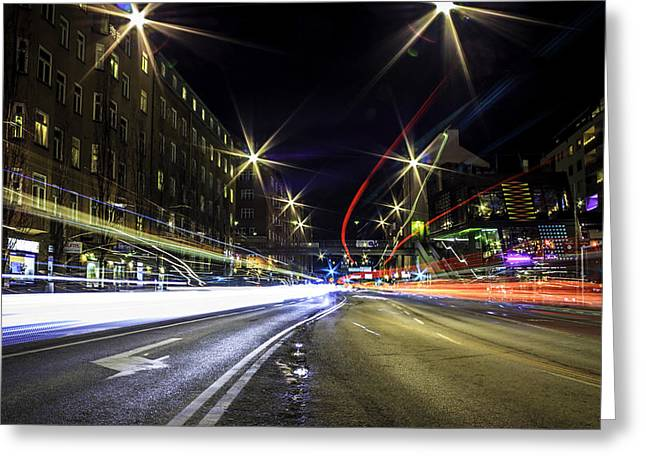 Light Trails 2 Greeting Card by Nicklas Gustafsson