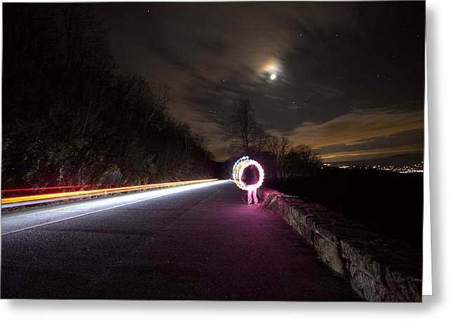 Light Trails And Painting Greeting Card by Shannon Louder