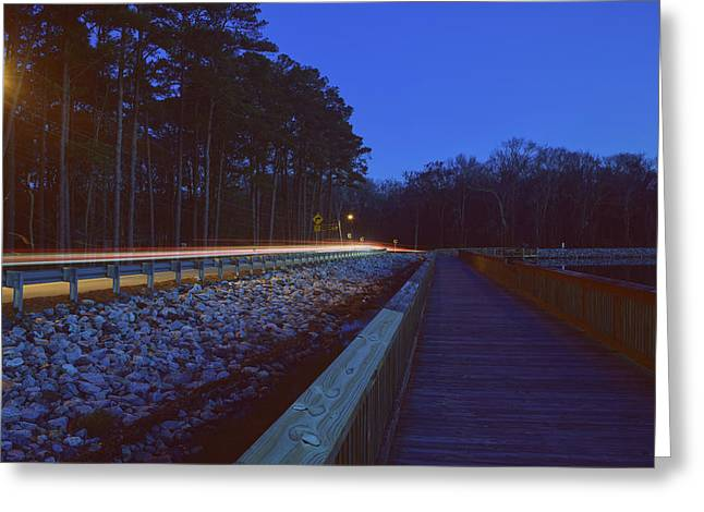 Light Trails On Elbow Road Greeting Card