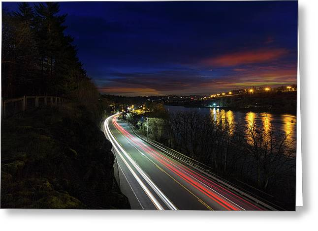 Light Trails On Highway 99 Greeting Card by David Gn