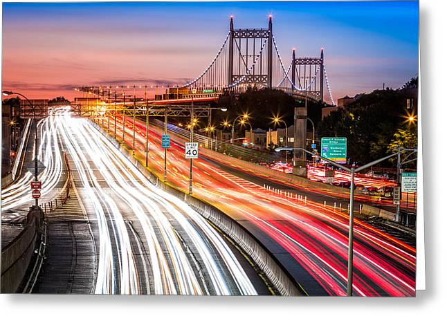 Light Trails On I-278 Near Triboro Bridge Greeting Card