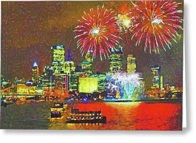 Greeting Card featuring the digital art Light Up Night In Pittsburgh by Digital Photographic Arts