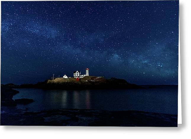 Greeting Card featuring the photograph Light Up Nubble Lighthouse by Darryl Hendricks