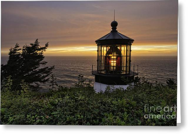 Light Up The Lighthouse Greeting Card by Moore Northwest Images