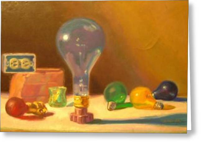 Lightbulbs Homage To Walter Murch Greeting Card by David Dozier