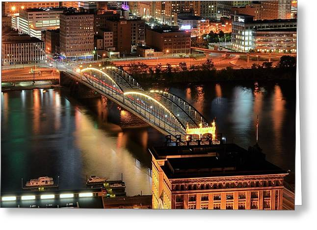 Lighted Bridge Greeting Card by Frozen in Time Fine Art Photography