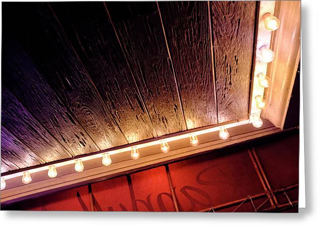 Lighted Corner In Red Black Annd Yellow In Winter Park Florida Greeting Card