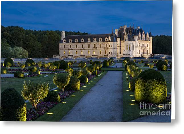 Lighted Gardens Of Chenonceau Greeting Card