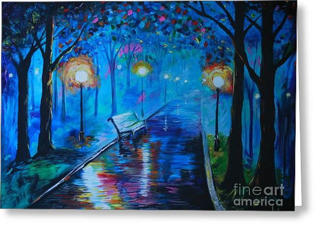 Greeting Card featuring the painting Lighted Parkway by Leslie Allen