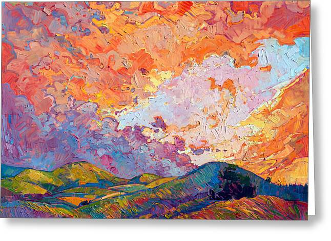 Lighted Sky Greeting Card by Erin Hanson