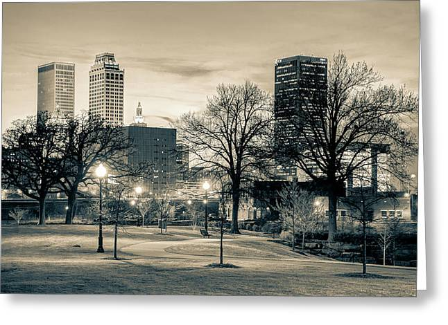 Lighted Walkway To The Tulsa Oklahoma Skyline In Sepia Greeting Card
