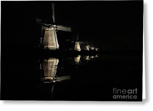 Greeting Card featuring the photograph Lighted Windmills In The Black Night by IPics Photography
