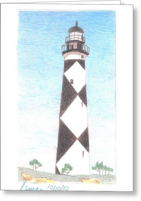 Greeting Card featuring the painting Lighthouse 3 by Rod Ismay