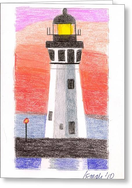 Greeting Card featuring the painting Lighthouse 5 by Rod Ismay