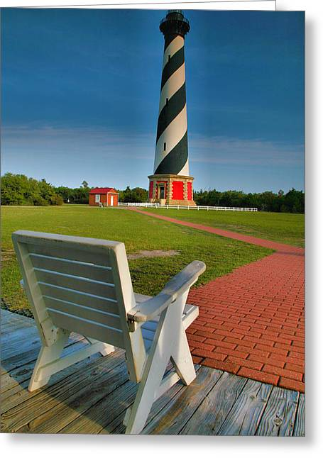 Barrier Island Greeting Cards - Lighthouse and Chair Greeting Card by Steven Ainsworth