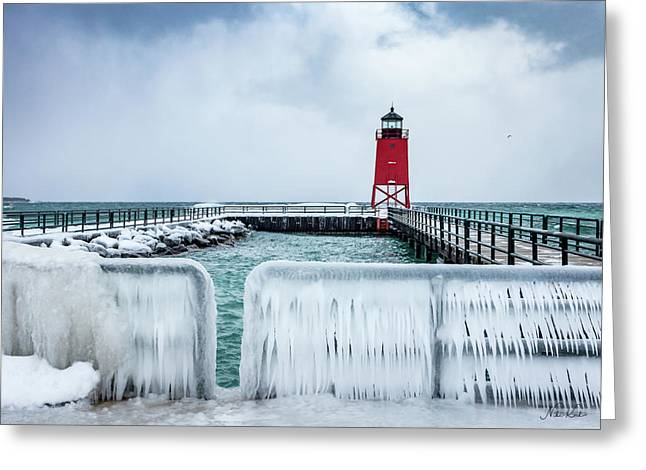 Lighthouse And Ice Greeting Card
