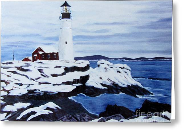 Lighthouse And Ocean Greeting Card by Nancy Rucker