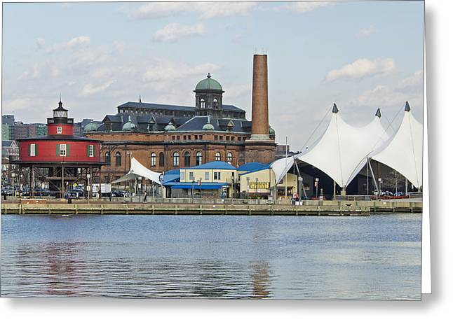 Lighthouse And Pier 6 - Baltimore Greeting Card by Brendan Reals
