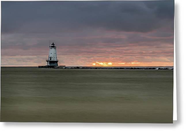 Lighthouse And Sunset Greeting Card