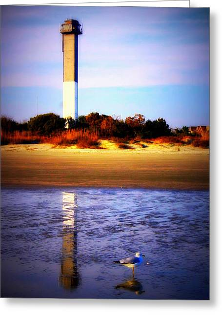 Lighthouse And The Seagull Greeting Card by Jill Tennison
