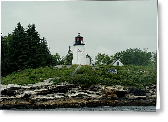 Lighthouse At Boothbay Harbor Greeting Card by Lois Lepisto