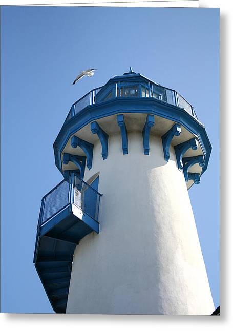 Lighthouse At Marina Del Rey Greeting Card by Art Block Collections