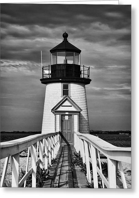 Lighthouse At Nantucket Island II - Black And White Greeting Card by Hideaki Sakurai