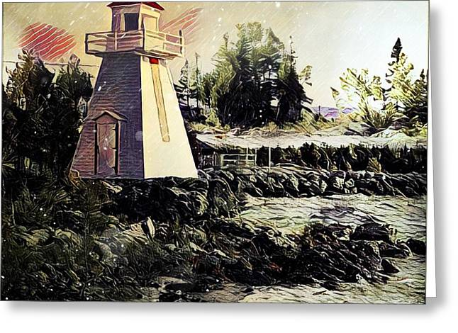 Lighthouse At South Baymouth Greeting Card by Julius Reque
