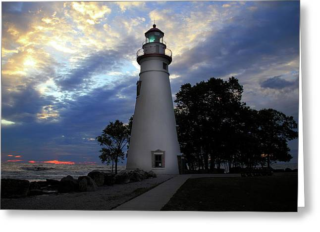 Lighthouse At Sunrise Greeting Card