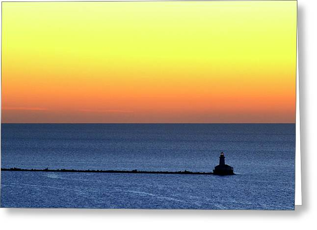 Greeting Card featuring the photograph Lighthouse At Sunrise On Lake Michigan by Zawhaus Photography