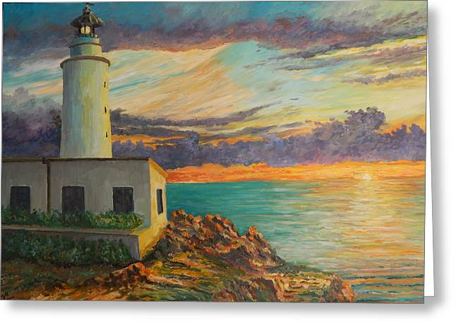 Lighthouse At Sunrise Greeting Card by Robert Schmidt