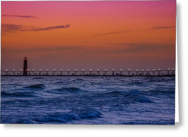 Lighthouse At Sunset Greeting Card by Art Spectrum