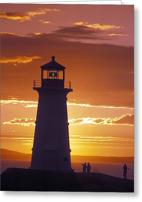 Lighthouse At Sunset In Peggys Cove Greeting Card by Richard Nowitz