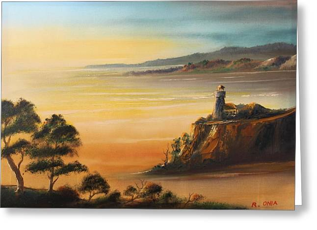 Lighthouse At Sunset Greeting Card by Remegio Onia