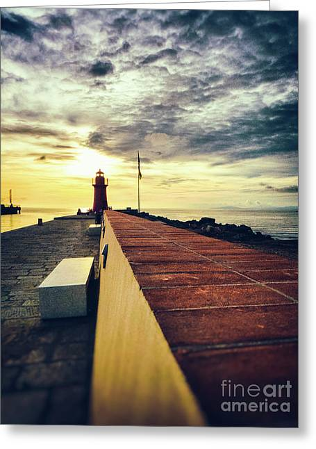 Greeting Card featuring the photograph Lighthouse At Sunset by Silvia Ganora