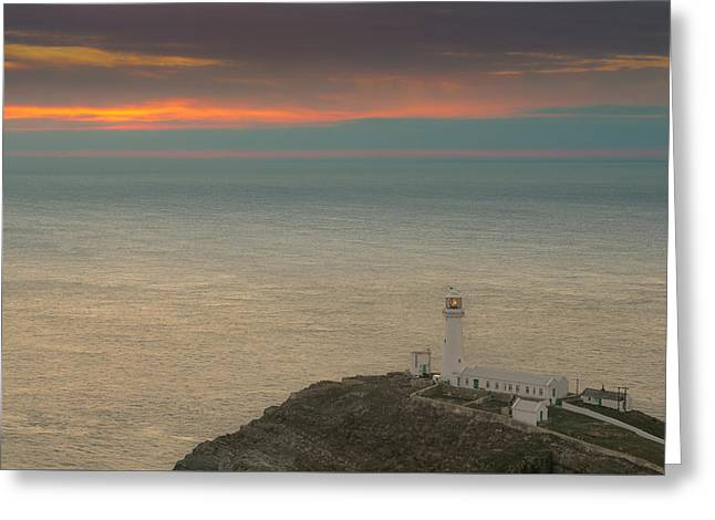 Lighthouse At Sunset,south Stack, Anglesey,north Wales Greeting Card by Andy Astbury