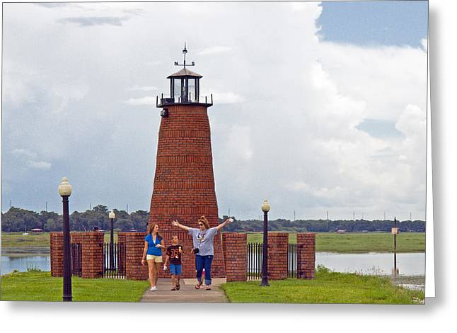 Lighthouse At The Port Of Kissimmee On Lake Tohopekaliga In Central Florida Greeting Card by Allan  Hughes