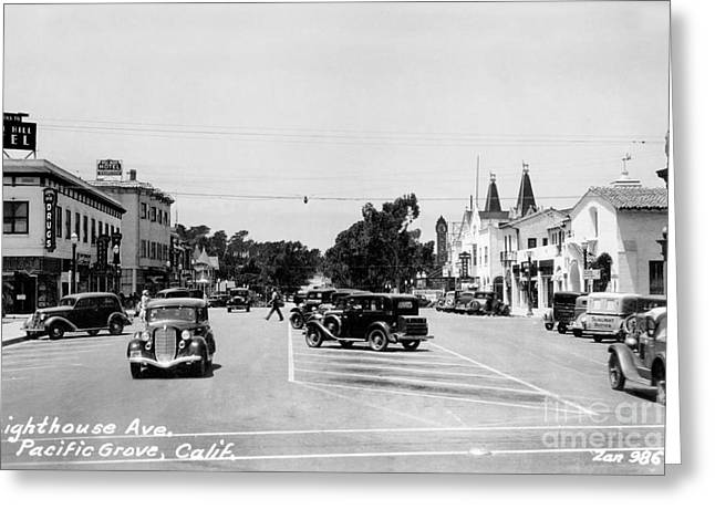 Lighthouse Avenue Downtown Pacific Grove, Calif. 1935  Greeting Card