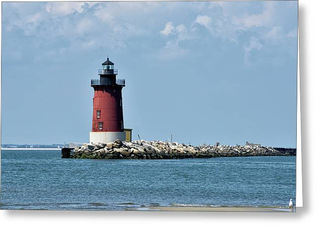 Greeting Card featuring the photograph Delaware Breakwater East End Lighthouse - Lewes Delaware by Brendan Reals